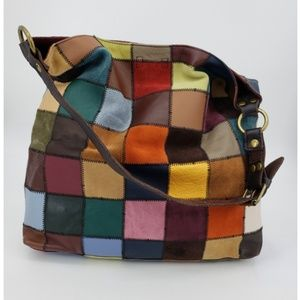 Lucky Brand Leather Patchwork Shoulder Tote Bag
